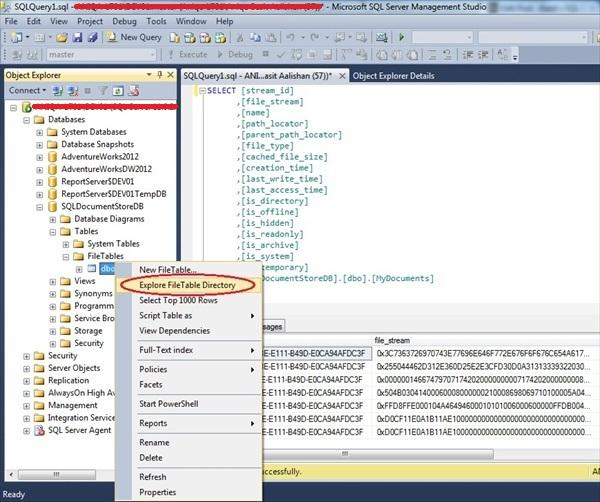 Using sql server 2012 filetables sqlservercentral - Alter table sql server example ...
